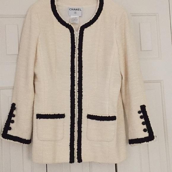 5fcf87c4587a CHANEL Jackets & Coats | Vintage Ivoryblack Tweed Jacket | Poshmark